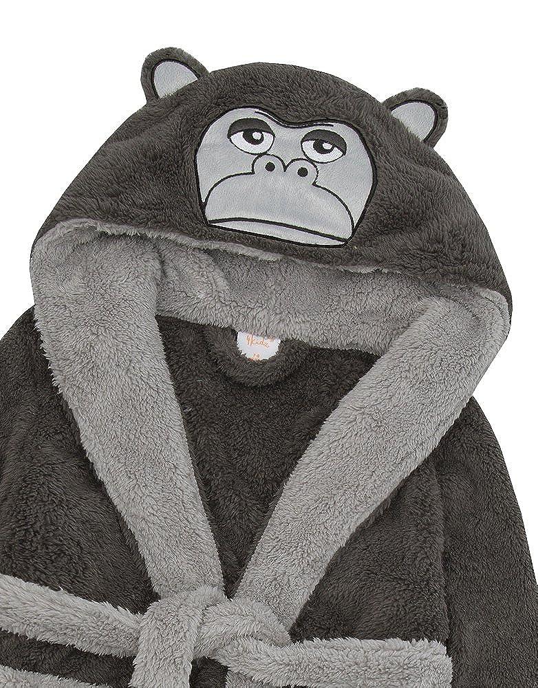 4Kidz Boys Novelty Monkey Gorilla Snuggle Fleece Hooded Warm Dressing Robe