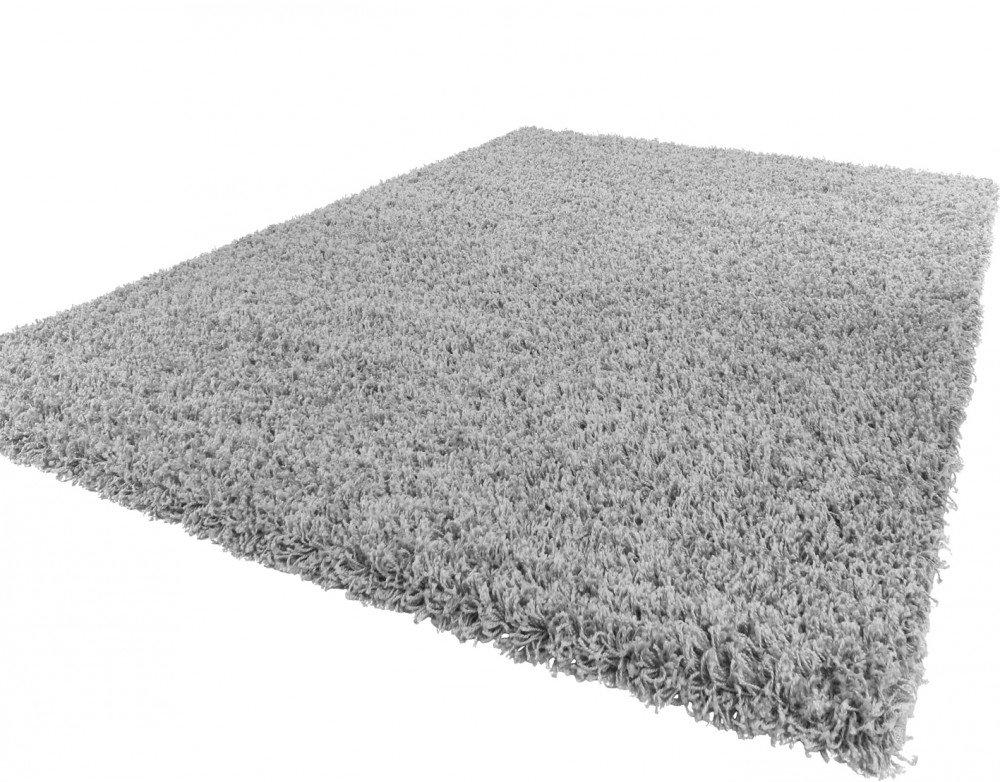 PHC Shaggy Hochflor Langflor Teppich Sky Einfarbig in Grau, Grösse 230x320 cm