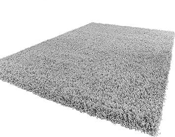 phc tapis shaggy longues mches en gris dimension150x150 cm carr - Tapis Shaggy