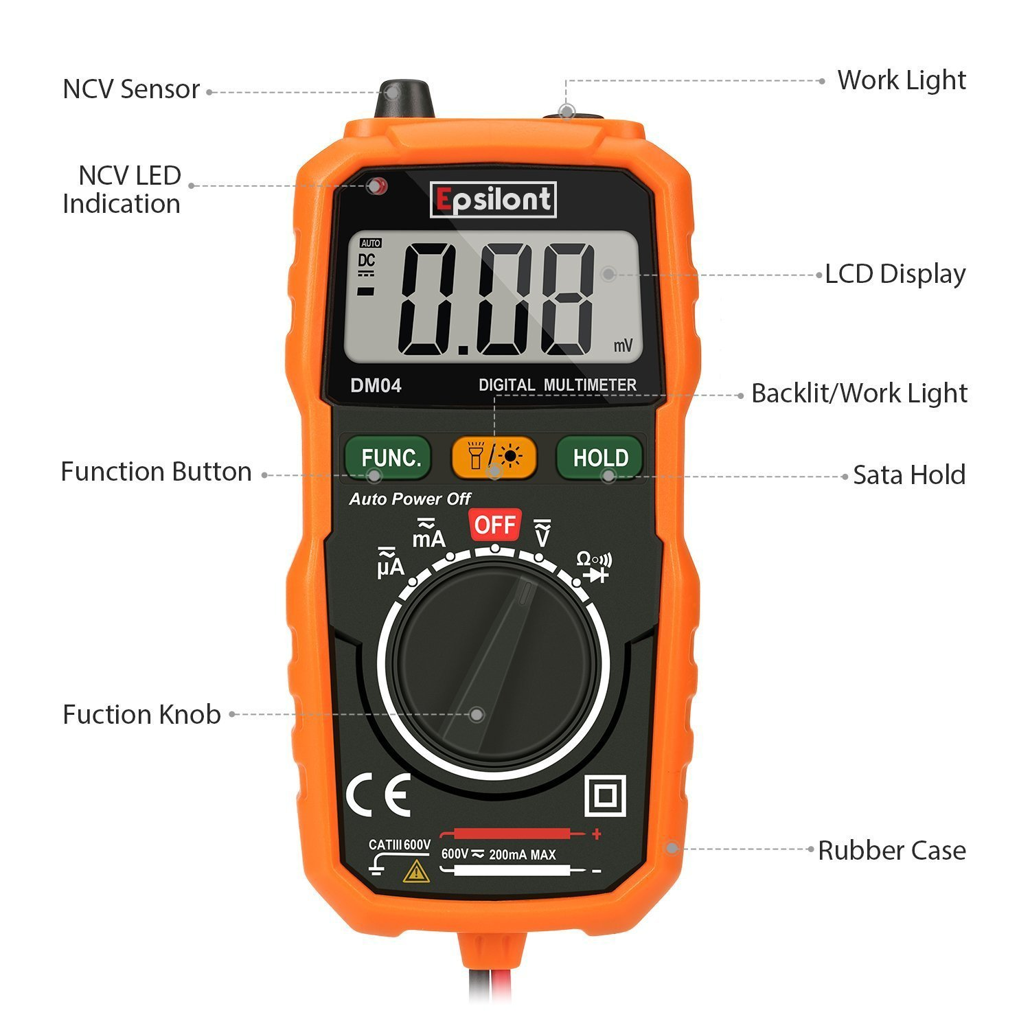 Epsilont Eps1000mm Digital Multimeter Auto Ranging Lowvoltagedetector Measuringandtestcircuit Circuit Diagram Measuring Instrument Ac Voltage Detector Amp Ohm Volt Meter Multi Tester Diode With Backlight