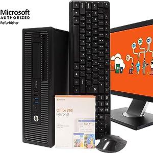 "HP ProDesk 600G1 Desktop Computer - Intel i5 3.2GHz, 8GB RAM, New 1TB SSD, Windows 10 Pro, Microsoft Office 365 Personal, 22"" LCD, New 16GB Flash Drive, Keyboard, Mouse, WiFi, Bluetooth (Renewed)"