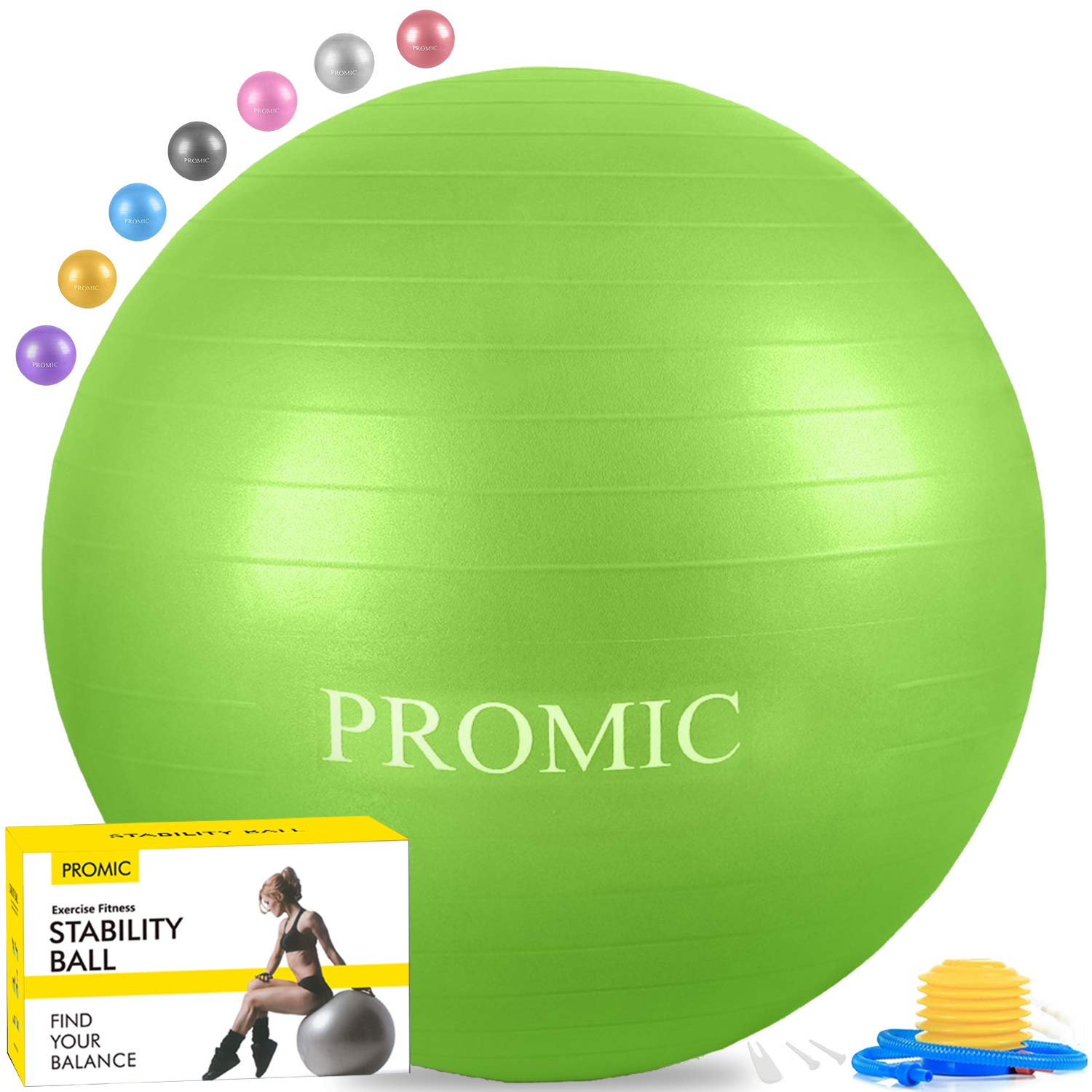 PROMIC Exercise Ball (45 cm) Children's Balance Ball with Foot Pump - Alternative Classroom Seating, Flexible School Chair, Active Classroom Desk Seating, Green by PROMIC