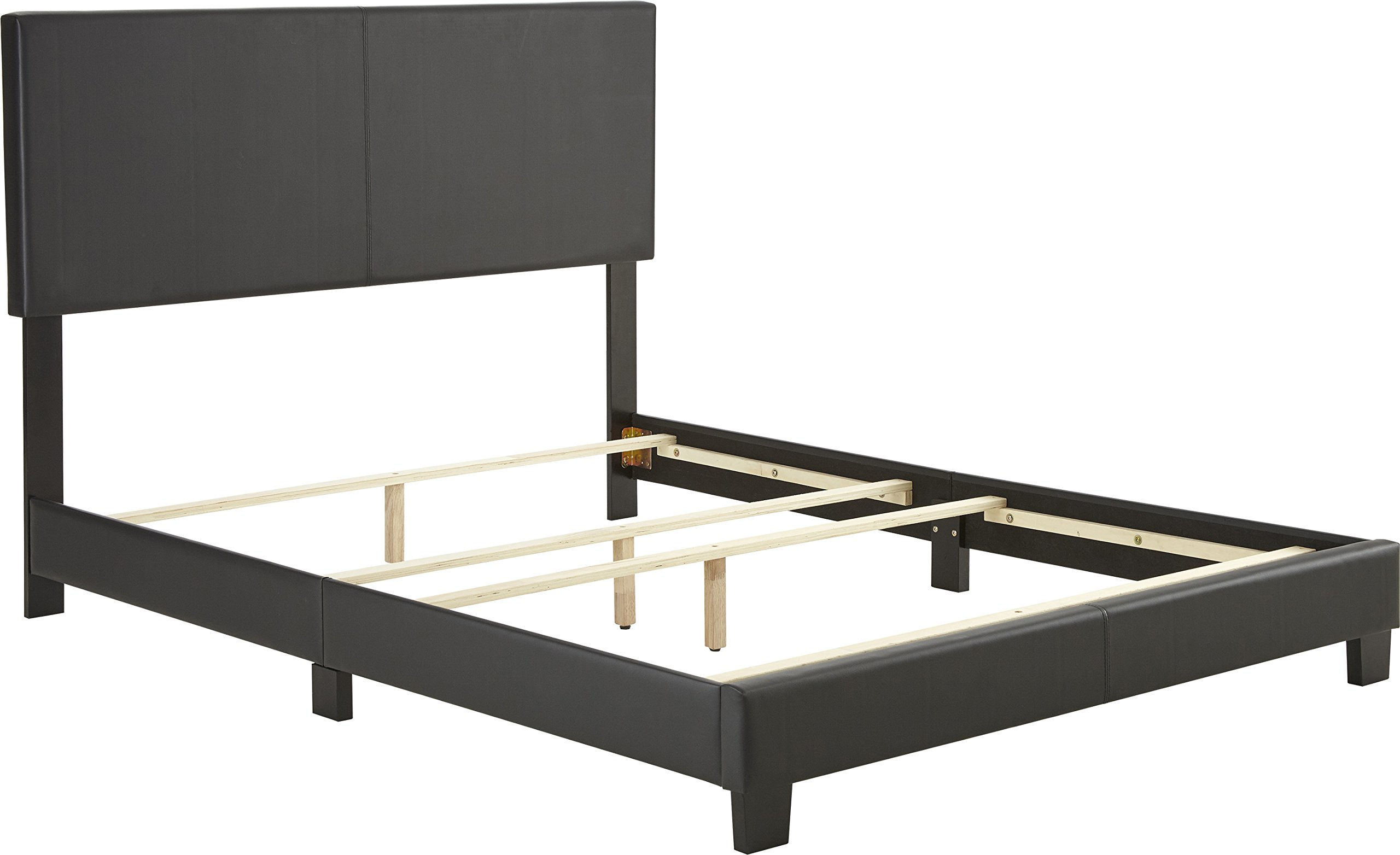 Flex Form Montana Upholstered Platform Bed Frame with Headboard: Faux Leather, Black, Full
