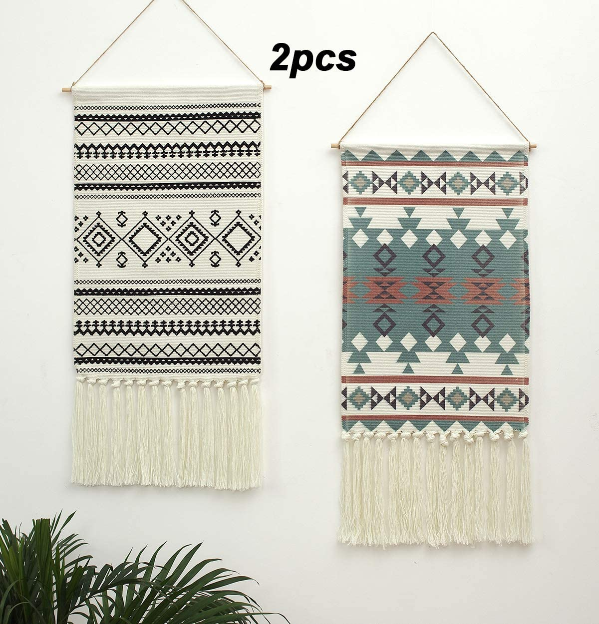 2PCS Macrame Woven Wall Hanging Tapestry, Indian Boho Chic Bohemian Aztec Home Decor Geometric Art Decor Boho Backdrop, Beautiful Apartment Dorm Room Door Decoration, 17.3 W x 33 L