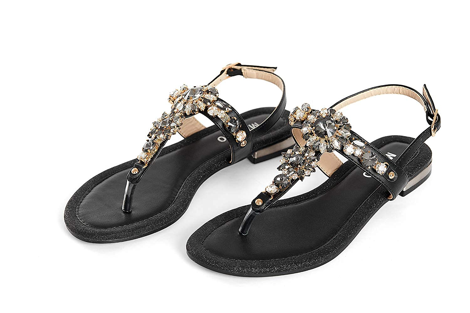 684a166f5a4e MARINO Womens Ladies Flat Diamante Sandals Summer Embellished Comfy Beach Flip  Flops Sandal Toe Post Shoes (Black   Silver)  Amazon.co.uk  Shoes   Bags
