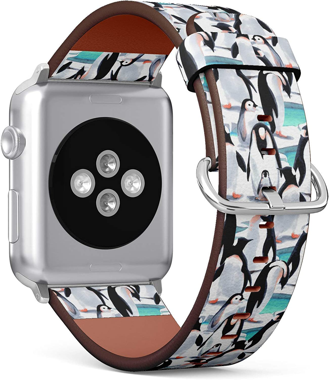 (Watercolor Penguins Pattern) Patterned Leather Wristband Strap Compatible with Apple Watch Series 4/3/2/1 gen,Replacement of iWatch 42mm / 44mm Bands