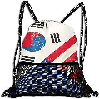 Hipiyoled South Korea USA Flag Bulk Drawstring Backpack Cinch Bag Sport Gym Sack for Traveling And Storage