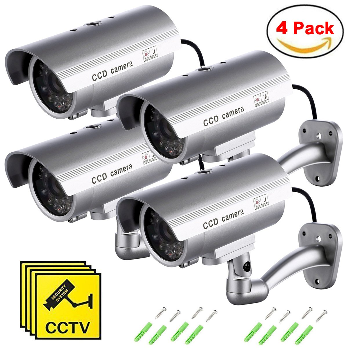 Maxesla Cámara Falsa, 4 Pieza Dummy Cámara de Seguridad Vigilancia Falsa Inalámbrico Impermeable Sistema de Vigilancia IR LED Parpadeante Fake Cámara Simulada CCTV