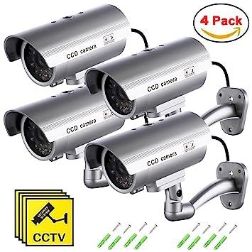 Cámara Falsa, Dummy Cámara de Seguridad Vigilancia Falsa Inalámbrico Impermeable Sistema de Vigilancia IR LED Parpadeante Fake Cámara Simulada CCTV (4Pcs): ...
