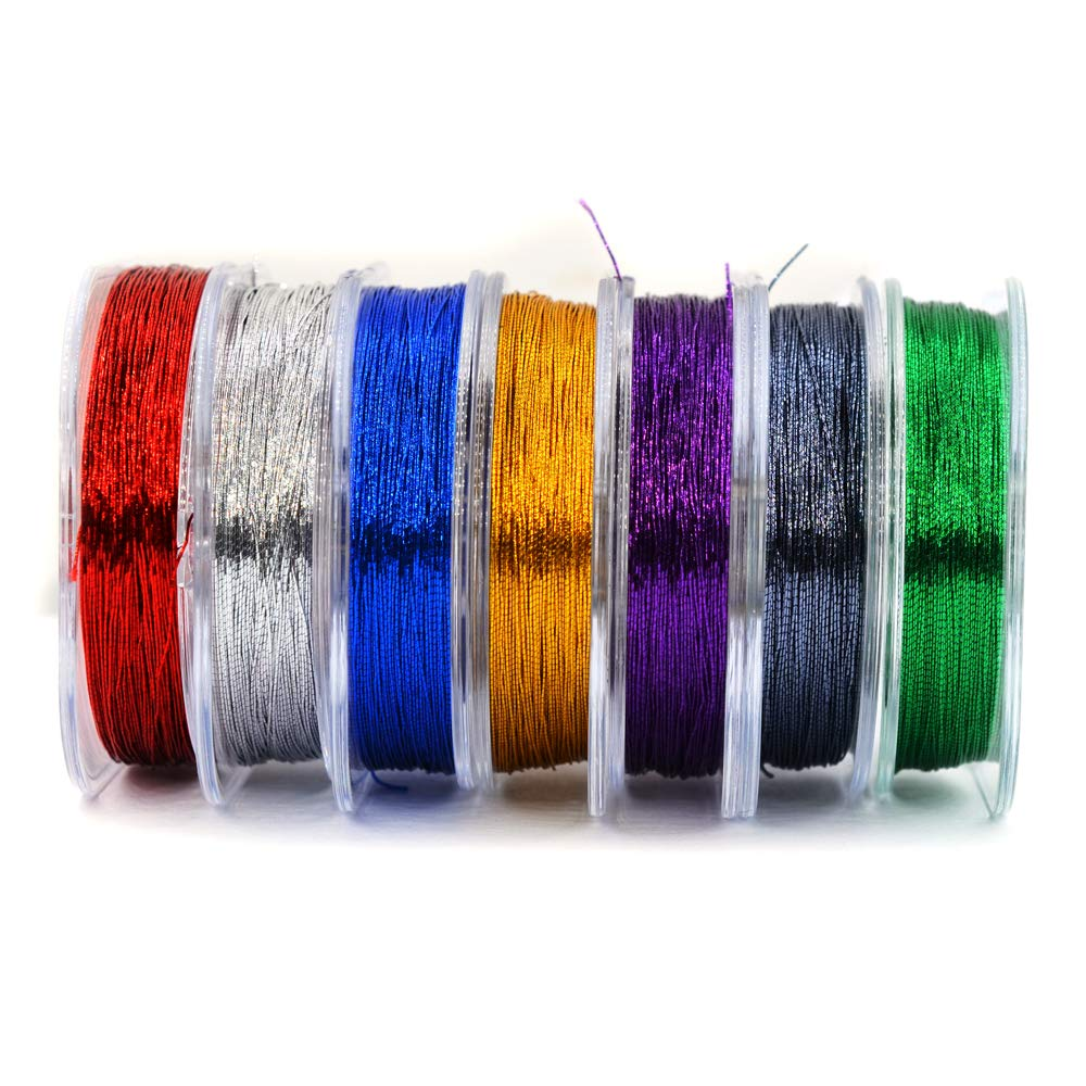 MNFT 7Pcs 50m// Spool Metallic Guide Wrapping Lines DIY Fishing Line Thread Strong Nylon for Rod Building 7 Colors Rod Building Wrapping Thread