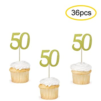 50 Cupcake Toppers Gold
