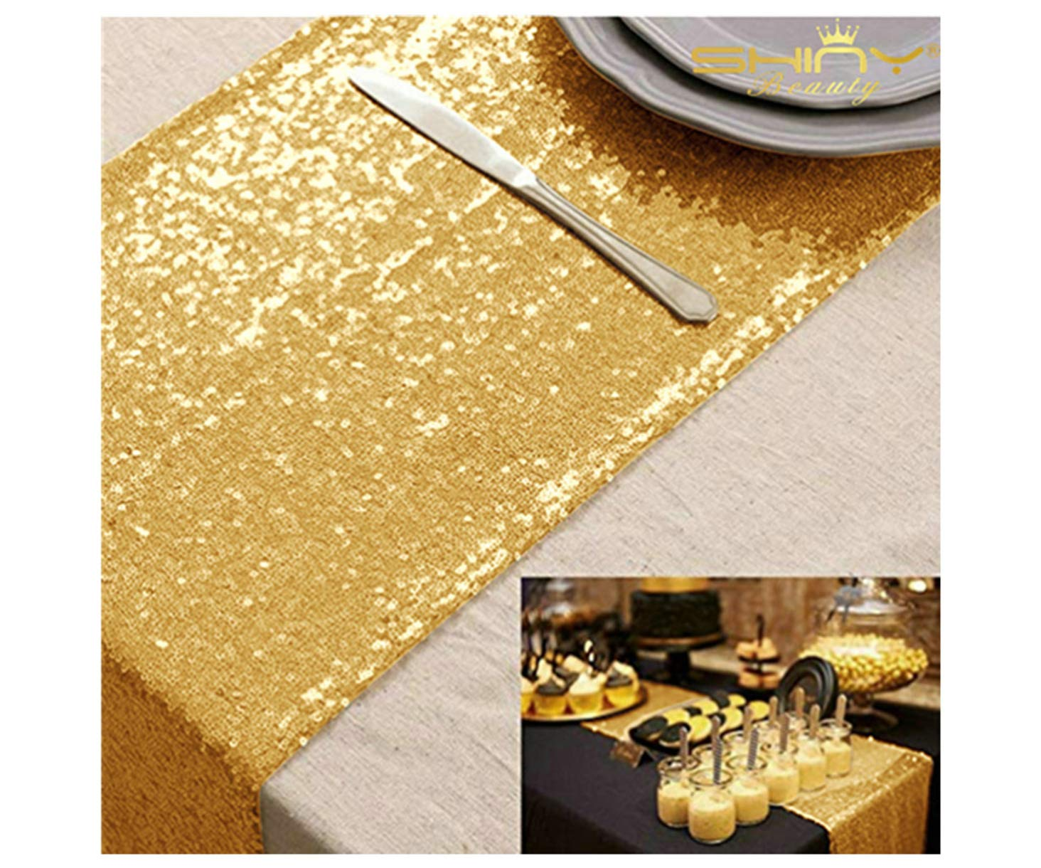 10 Pieces-12 x108 Gold Sequin Table Runner Wedding Party Catering Event by ShinyBeauty
