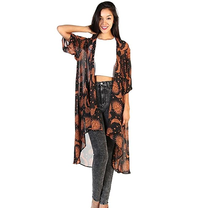 ebaf36fd3ee Women Loose Long Chiffon Shawl Kimono Cardigan Mingfa Sun Moon Floral Print  Cover Up Beachwear Tops