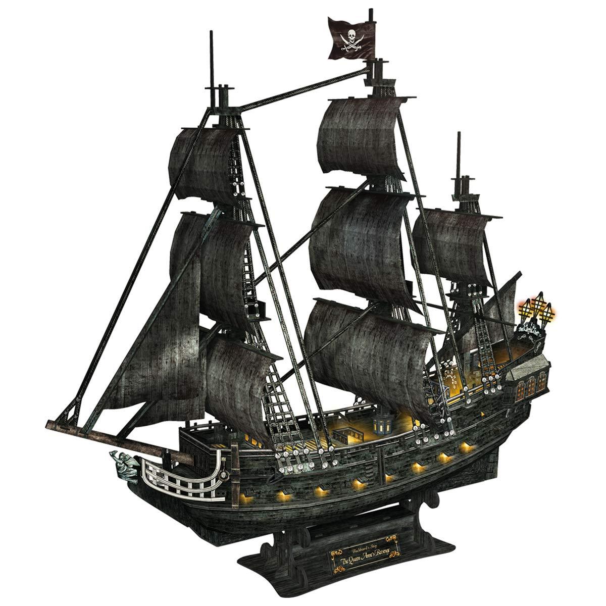 CubicFun 3D Puzzles Large LED Pirate Ship Sailboat Model Building Kits Toys, Queen Anne's Revenge, 340 Pieces by CubicFun