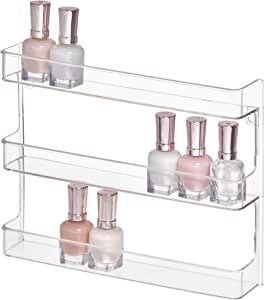 "InterDesign Clarity 12"" Bathroom Vanity Countertop Multi Level Organizer for Cosmetics, Makeup, Vitamins, Medicine - Clear, Various Style Wall Mount Shelves"