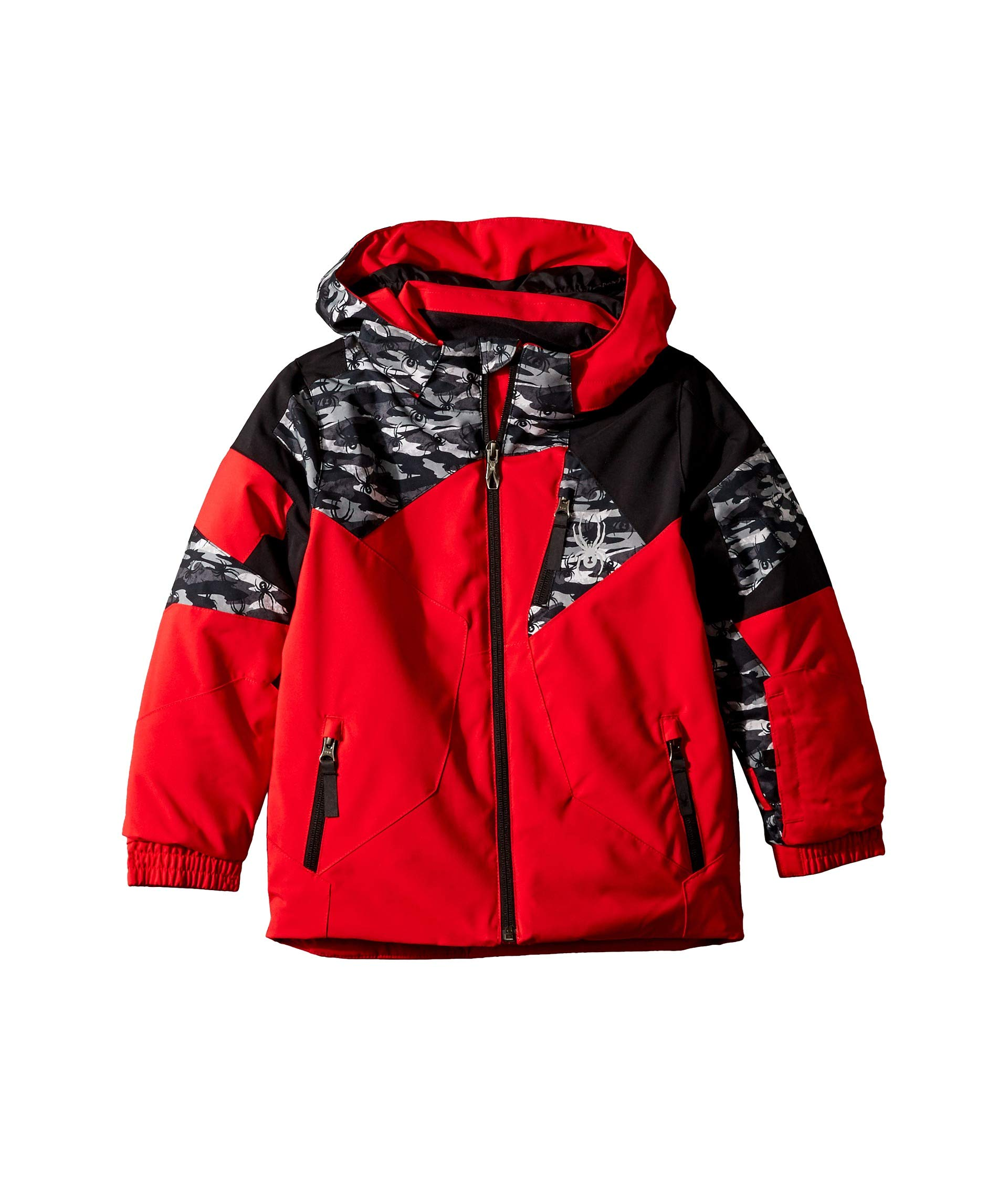 Spyder Kids Baby Boy's Leader Jacket (Toddler/Little Kids/Big Kids) Red Camo Black/Black 4 US Little Kid