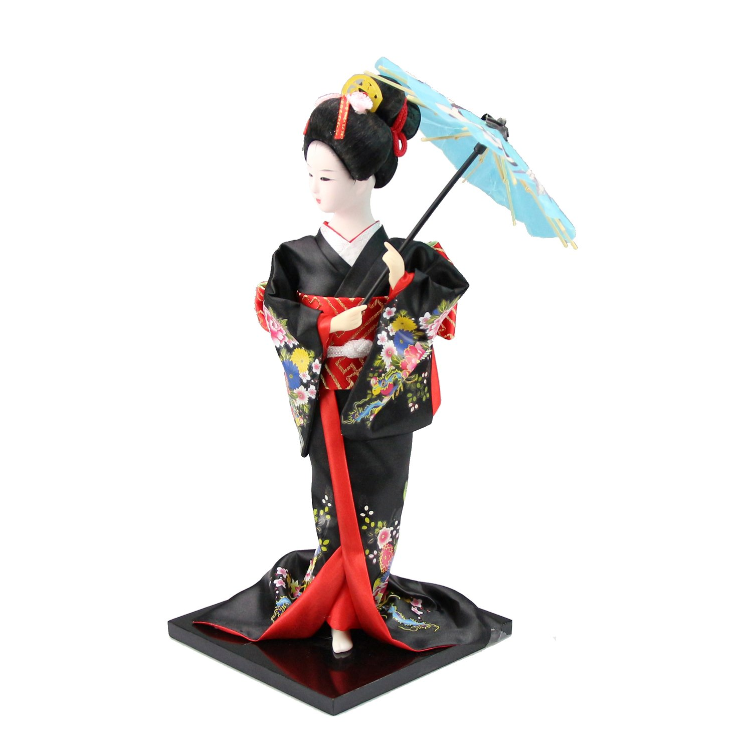 h oter japanese geisha in black kimono with parasol figurines