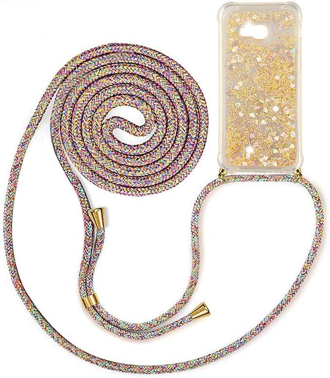 Bigcousin Funda con Cuerda Compatible con iPhone 11,Carcasa de Silicona con Colgante con Ajustable Collar Cadena Cord/ón,Pink
