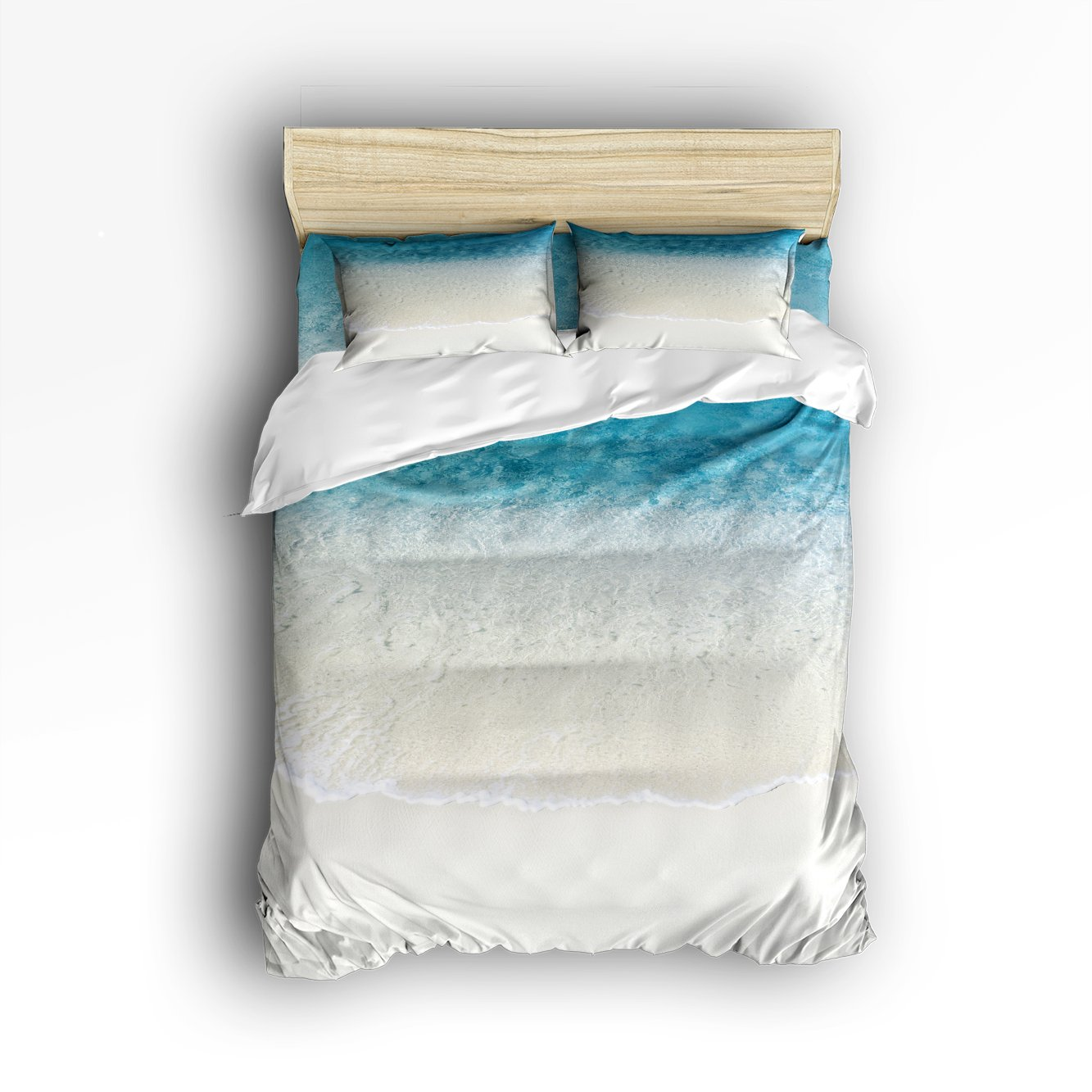 Libaoge 4 Piece Bed Sheets Set, Sandy Beach Blue Ocean Waves, 1 Flat Sheet 1 Duvet Cover and 2 Pillow Cases by Libaoge