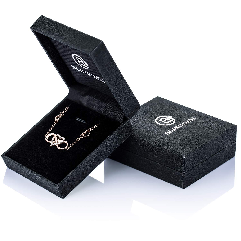 BlingGem Bracelet de Cheville pour Femme en Argent 925//1000 avec Oxyde de Zirconium Rond Bracelet Infini Coeur Fille,24+3.5 cm
