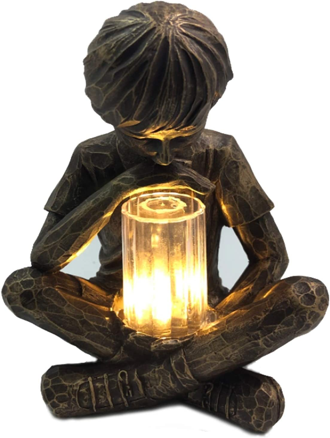 Famiwarm Glimpses of God Boy Statue Easter Garden Decoration Statue Resin Ornament for Patio Lawn Yard Art Home Decoration