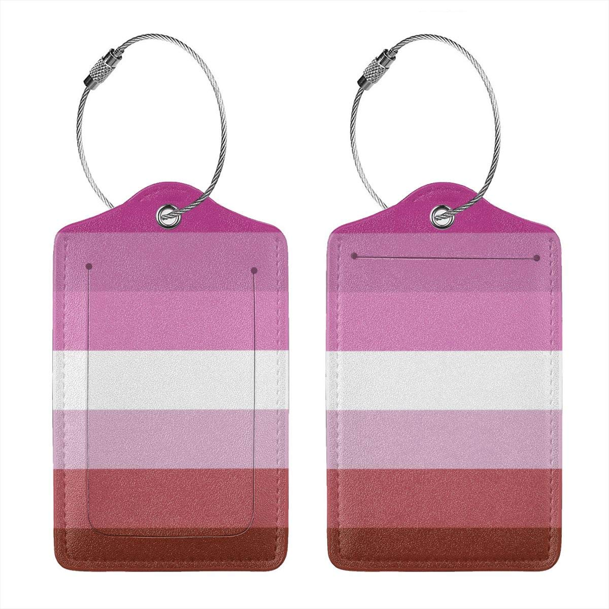 Lesbian Pride Flag Luggage Tag Label Travel Bag Label With Privacy Cover Luggage Tag Leather Personalized Suitcase Tag Travel Accessories