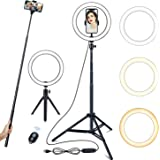 EKOOS Selfie Ring Light with 3 Colors & 10 Brightness USB LED Ring Light for Self-Media/Makeup/Live Broadcast with Phone Hold