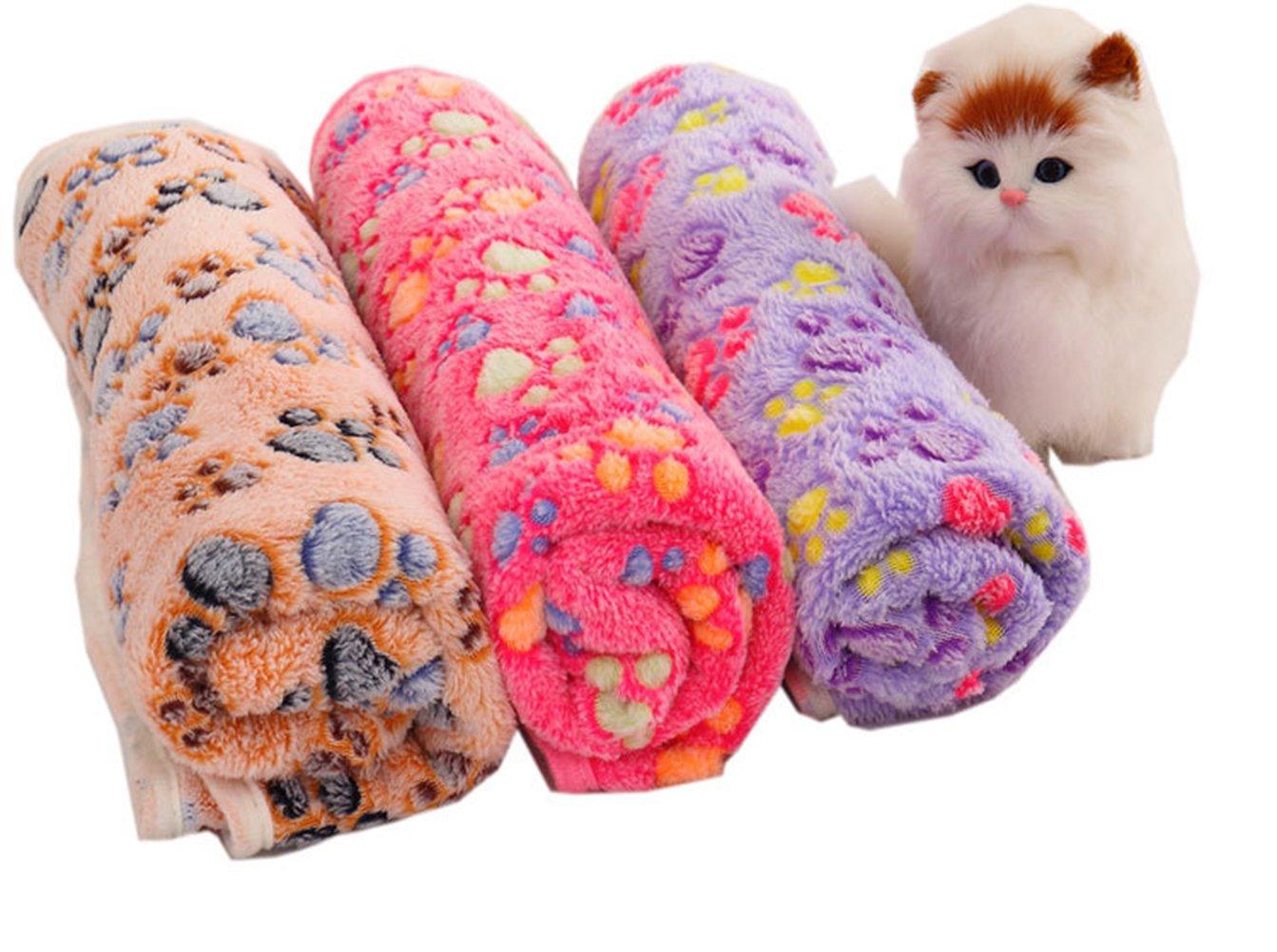 /Manta sof/á Cama Pet Calientes del coj/ín Protectora Toalla 20/* 20/cm Haodou Mascotas Matte Suave Forro Polar Paw Print Dise/ño Pet Puppy Perros y Gatos Matte/
