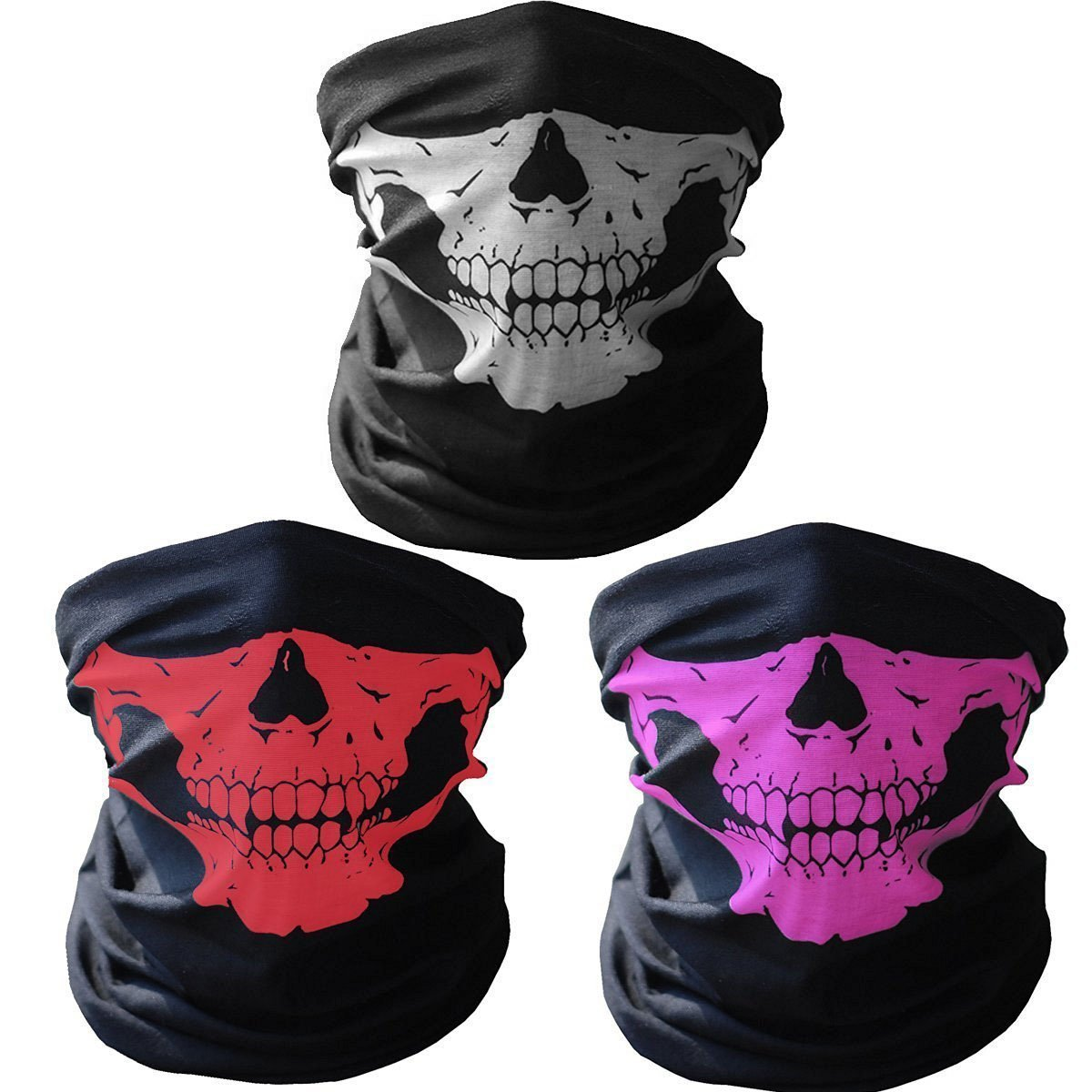 GAMPRO 2 Pcs Universal Breathable Seamless Tube Skull Face Mask, Dust-proof Windproof Motorcycle Bicycle Bike Face Mask for Cycling, Hiking, Camping, Climbing, Fishing, Motorcycling(2Pcs Black)