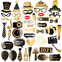 New Years Photo Booth Props, Pack of 46,New Years Glitter Cardstock Decorations Kit,Great for New Years Eve Party Supplies 2021