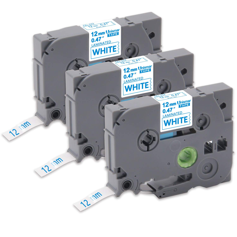 Unismar Tz Tape 9mm White on Black Tze-325 Tze 325 Laminated Label Cassette Tape Compatible for Brother P-Touch PT-H110 PT-D600 PT-D400 PT-D200 PT-D210 PT-1280 PT-1290 3-Pack 9mm x 8m 3//8 x 26.2