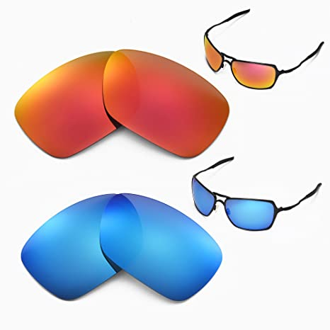 f331253c0ef Amazon.com  Walleva New Polarized Fire Red + Ice Blue Replacement Lenses  For Oakley Inmate Sunglasses  Sports   Outdoors