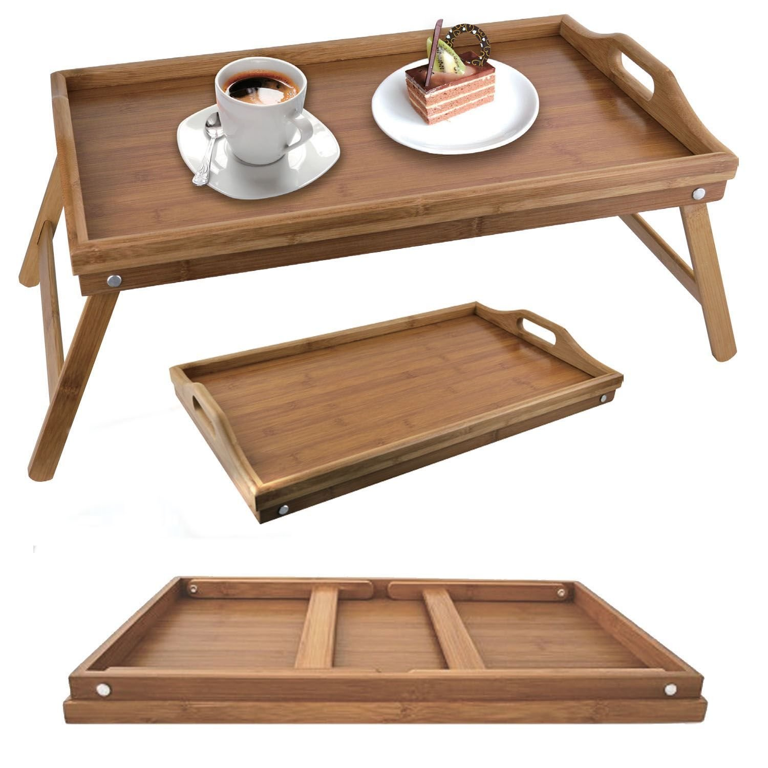 Amazon.com : Folding Bamboo Wooden Breakfast Serving Lap Tray Over Bed Table  With Legs New (Bamboo Bed Tray) By E Trade : Office Products