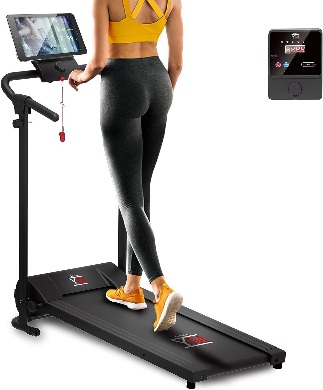 Cinta de correr eléctrica plegable, CONTROL DE VELOCIDAD CONTINUA, 10 KM/H, Soporte para tablet y teléfono, Alfombra acolchada Maxi-Grip, Ahorro de espacio, Motor silencioso (1800 W / 2.5 HP Peak)