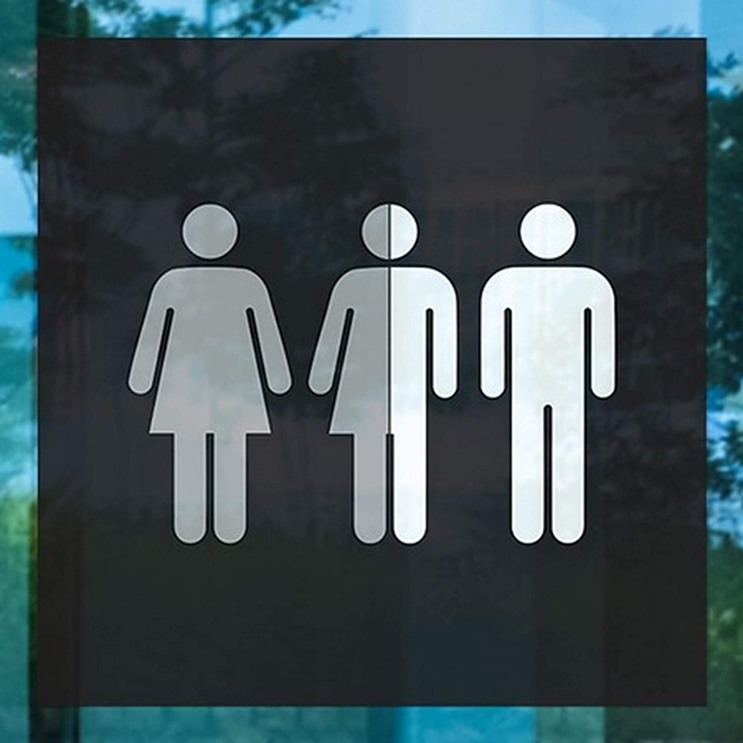 CGSignLab 16x16 5-Pack Gender Neutral Sign in Black and White Clear Window Cling