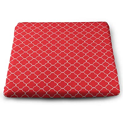 Tinmun Square Cushion, Red White Quatrefoil Trellis Pattern Large Pouf Floor Pillow Cushion for Home Decor Garden Party: Home & Kitchen
