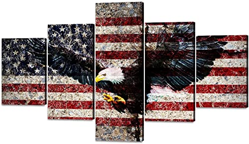 Canvas Wall Art Retro American Flag Pictures Print Artwork US Flag Eagle Posters 5 Panels Giclee Wall Picture