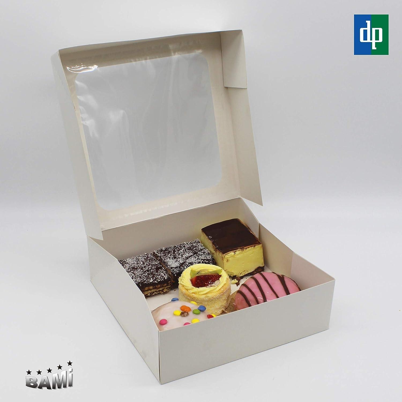BAMI EINWEGARTIKEL Caja de cartón para Tarta (30 Unidades, 25 x 25 x 8 cm, con Ventana), Color Blanco: Amazon.es: Hogar