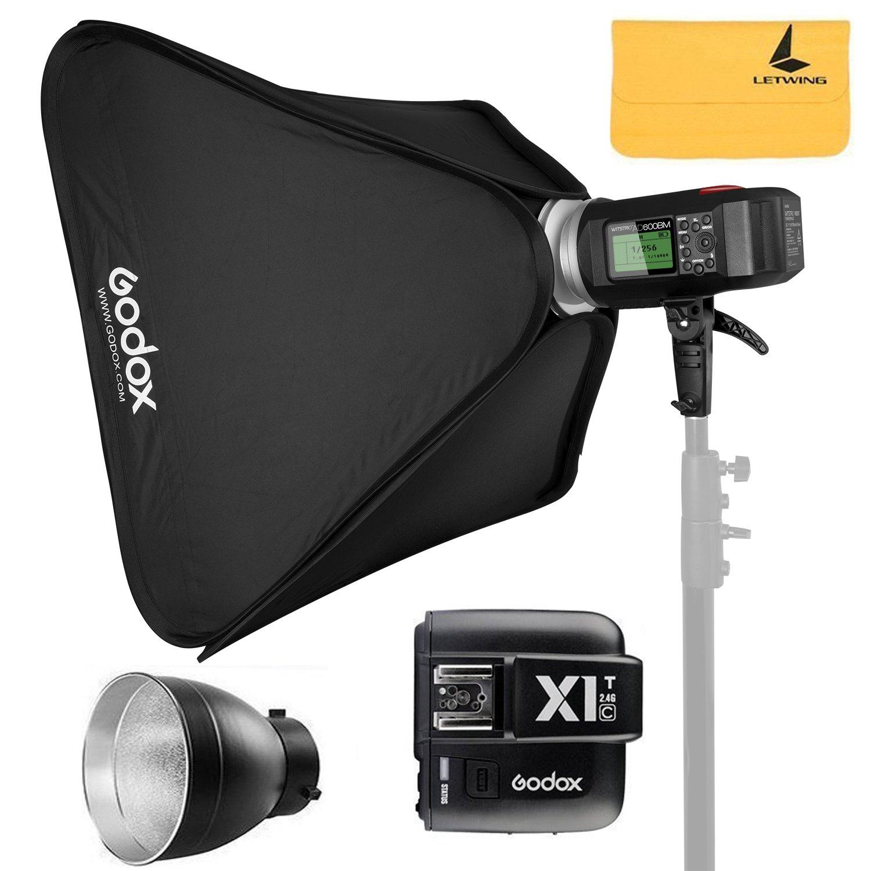 GODOX AD600BM 600Ws Bowens Mount GN87 1/8000 HSS Outdoor Flash Strobe Monolight+GODOX X1T-C TTL Wireless Transmitter for Canon EOS Series Cameras,AD-R6,80cmX80cm /32''X32''Softbox by Godox