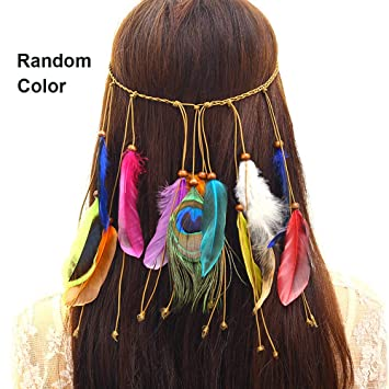 1c1917816c3 Amazon.com   Feather Headband Hippie Indian Boho Hair Bands Tassel Bohemian  Halloween Hair Hoop Women Girls Crown Hairband Party Decoration Headdress  ...