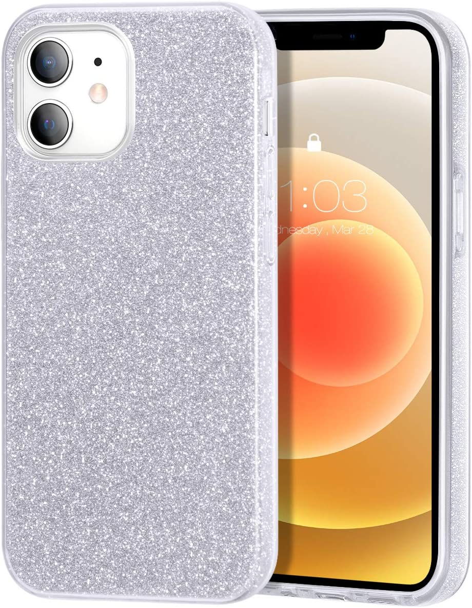 zelaxy Case Compatible with iPhone 12 Mini, Protective 3 Layer Anti-Slick Slim Bling Sparkly Glitter Cover for iPhone 12 Mini 5.4 inch (Silver)