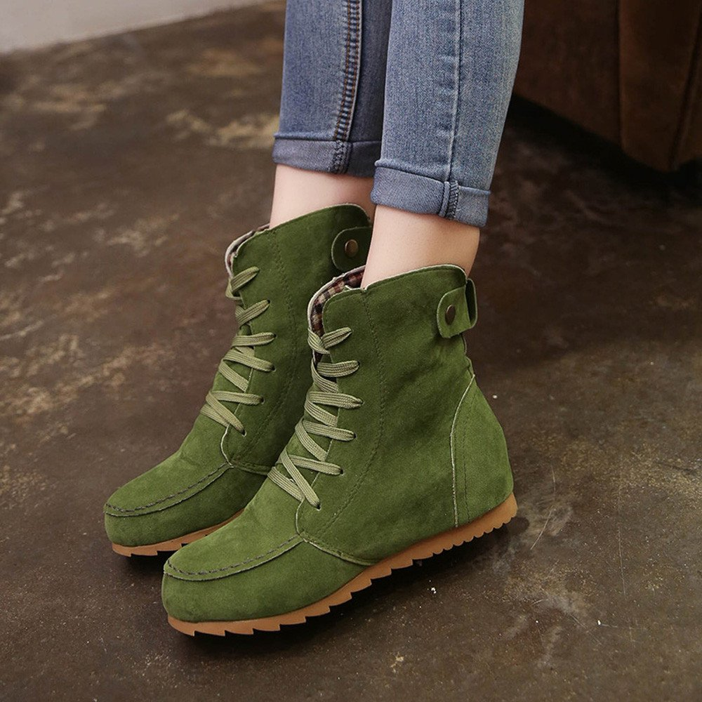 Amazon.com: ZOMUSA Autumn Winter Flat Ankle Suede Boots Motorcycle Shoes: Shoes