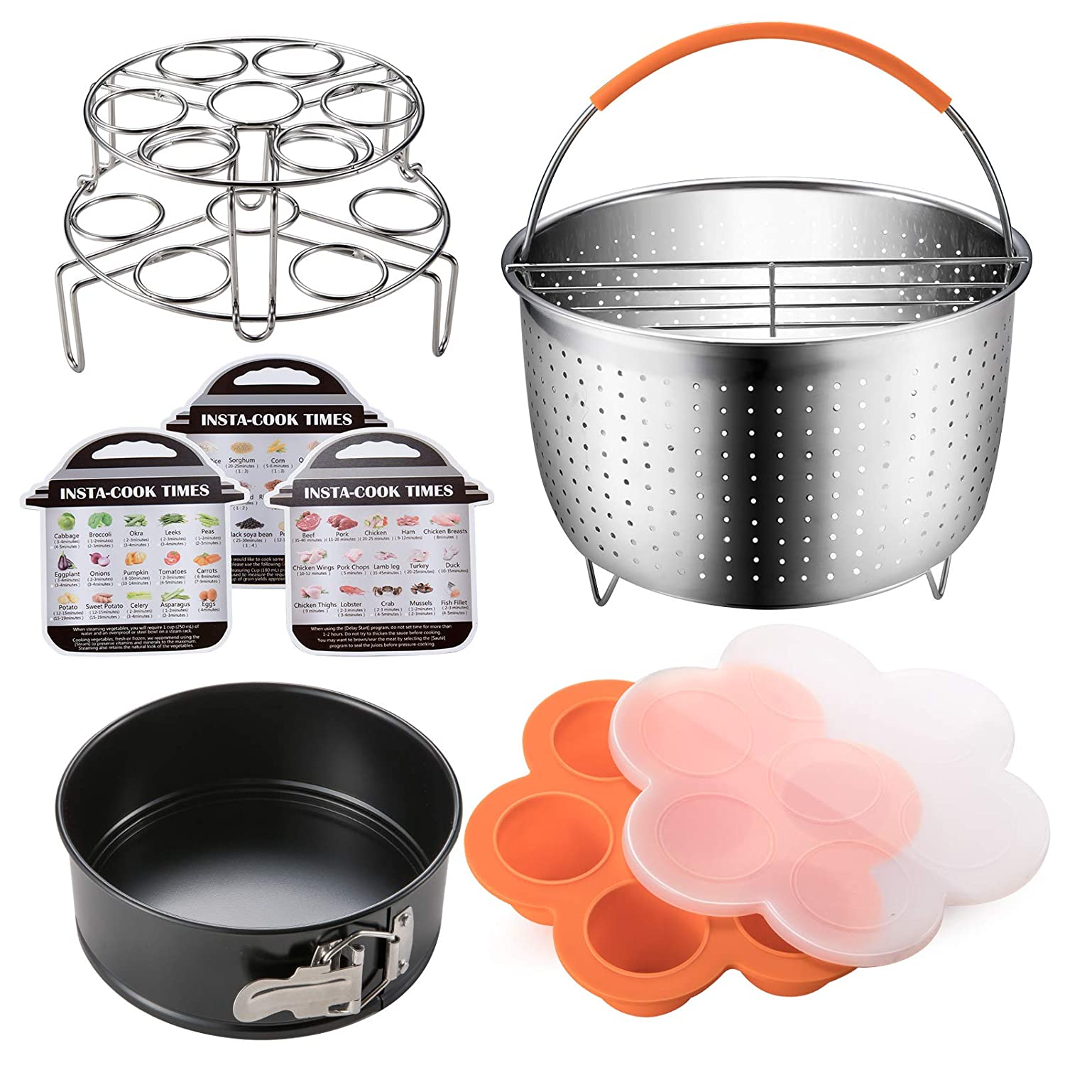 Stackable Steamer Racks Egg Bites Mold Accessories Set Compatible with Instant Pot 6,8 QT Springform Pan Magnetic Cheat Sheet by SiCheer Steamer Basket with Divider