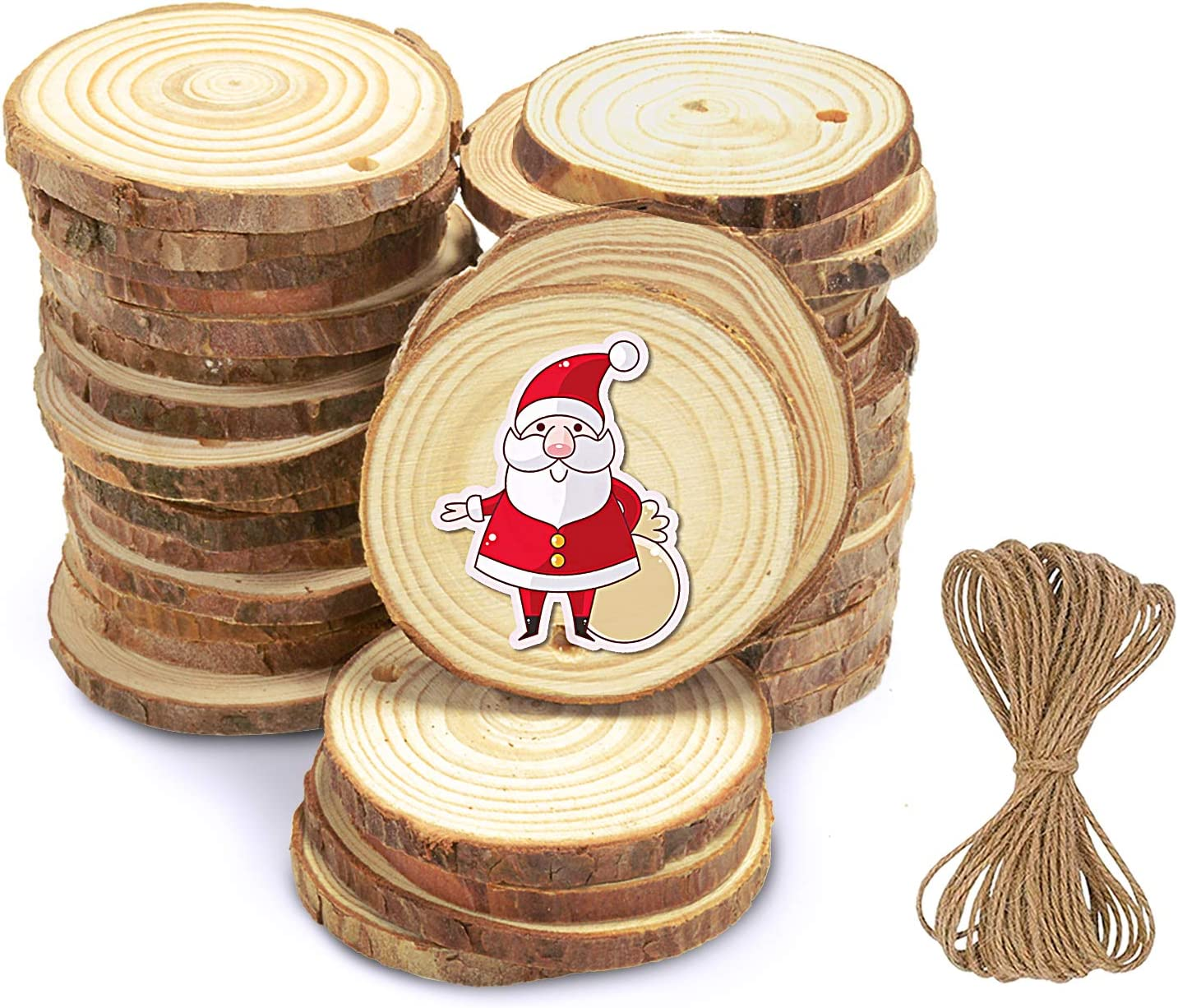"""Flame Natural Wood Slices - 36 Pcs 2.0""""-2.4"""" Craft Unfinished Wood kit Predrilled with Hole Wooden Circles for Arts Wood Slices Christmas Ornaments DIY Crafts"""