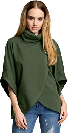 MOE - made of emotion Jersey Cruzado de Gran tamaño con Cuello Alto - Verde Militar