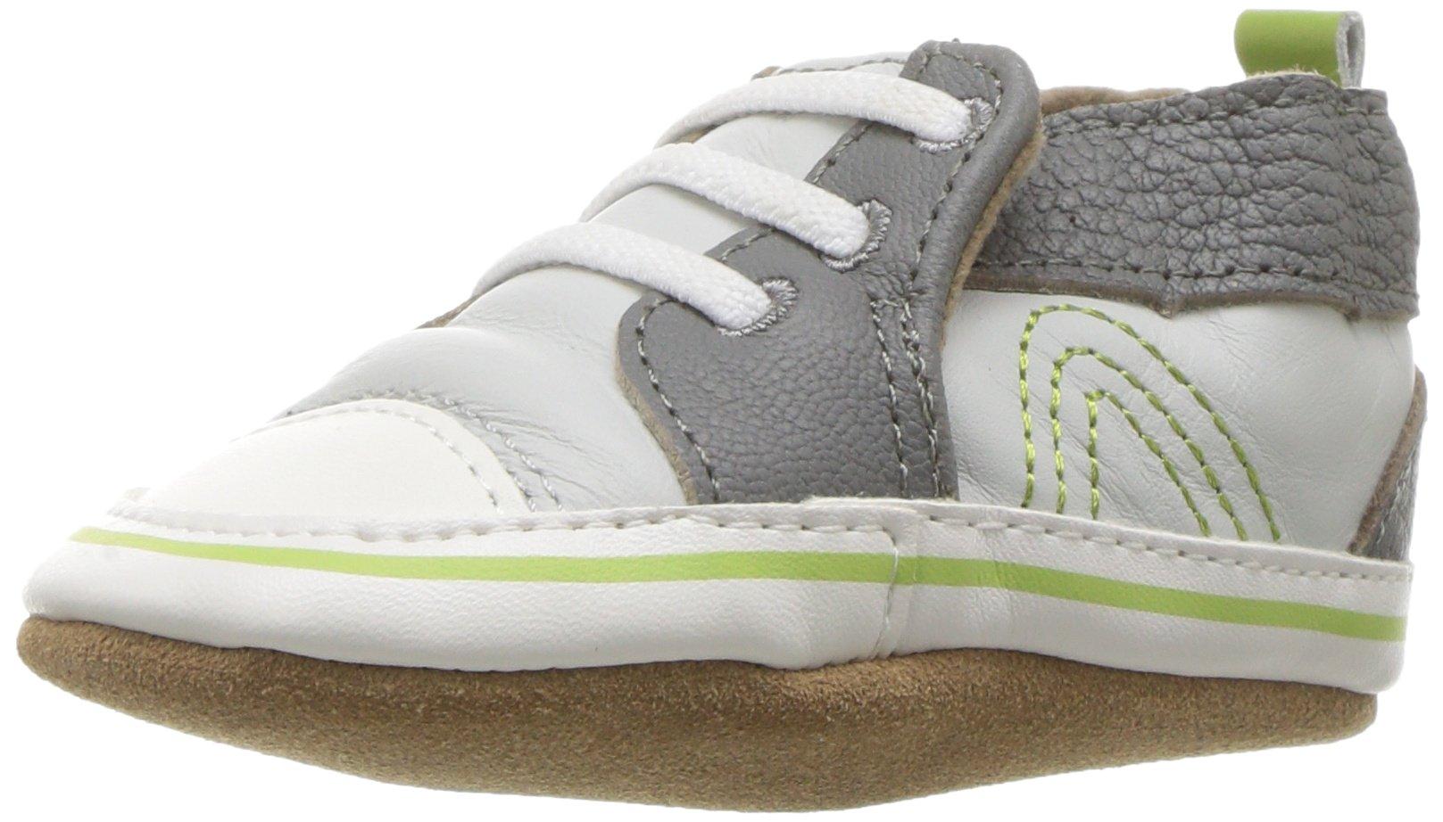 Robeez Boys' Soft Soles Crib Shoe, Grey, 12-18 Months M US Infant