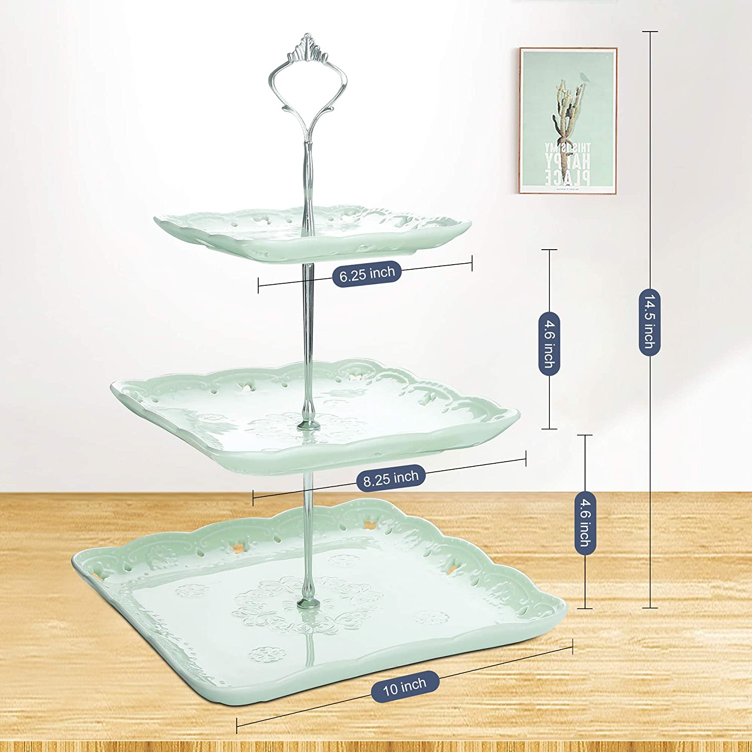 Round Stone Slate Tea Party Server Serving Set with Silver Carry Handle Malacasa 3-Tier Natural Slate Cake Stand