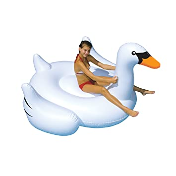 Swimline 90621SL 75u0026quot; Kids Giant Inflatable Swan Vinyl Float