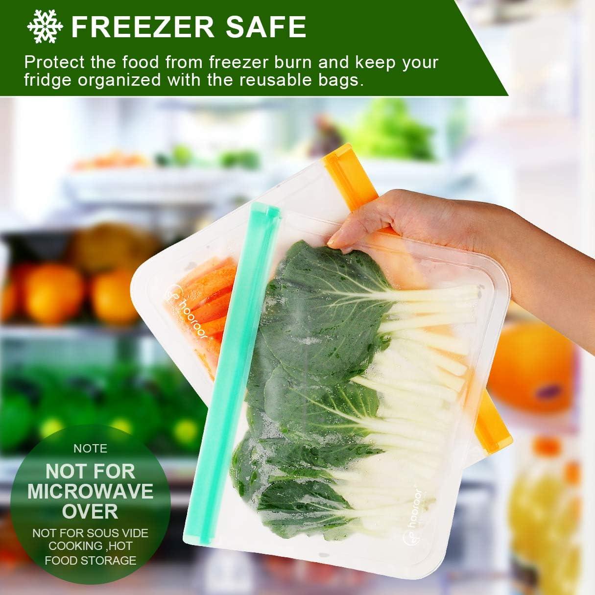 Bolsas de Conservaci/ón Congelador Bolsas Preservaci/ón de Alimento Herm/ética para Bocadillos Fruta Verduras Carne y S/ándwich Redmoo Bolsas de Almacenamiento Reutilizables 12 Pack Aprobado por la FDA
