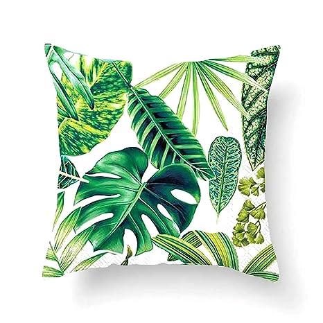Vevice 1 funda de cojín cuadrada con diseño de hojas de color verde tropical, para sofá, para interior y exterior, decoración del hogar, algodón, C, ...